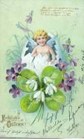 AK ENGEL ANGEL BLUMEN GEPRÄGT SNOWDROP And Violet  ALTE POSTKARTEN 1903 - Anges