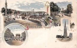 (33) Bordeaux - Souvenir De BORDEAUX - Illustration Quai Nord Tour St Michel Porte Des Salimeres Allées Damour - Bordeaux