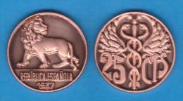 ESPAGNE / II REPÚBLIQUE  25 Céntimos  1.937 Cobre Cy. Tipo 3ª-17670  SC/UNC T-DL-10.928 Copy - [2] 1931-1939: Zweite Republik