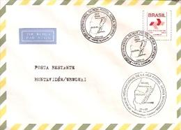 SOBRE-ENVELOPE CON 3 MATASELLOS. AÑO 1992. MONTEVIDEO-URUGUAY. ESTAMPILLA-STAMP DE BRASIL. CIRCULADO. GECKO. - Uruguay