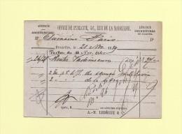 Belgique - Entier Postal Repiquage Office De Publicite - 1879 - Stamped Stationery