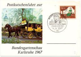 Sonderkarte Postkutschenfahrt Zur Bundesgartenschau Karlsruhe 1967 - [7] Federal Republic