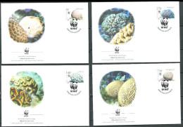ANTILLES NEERLANDAISES 2005 - 4 Env WWF 1er Jour - Coraux Corail - FDC