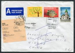 Iceland Reykjavik Airmail Cover - Ningbo China Retour Europa - Cartas