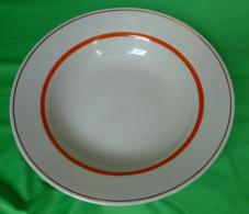 Vintage Latvia Riga USSR Soviet Porcelain Factory RPR Dish Soup Bowl Plate With Gold & Red Trim - Signed