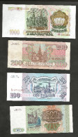 RUSSIA - 100 / 200 / 500 / 1000 ROUBLES (1993) - RUSSIAN FEDERATION / LOT Of 4 DIFFERENT BANKNOTES - Russia
