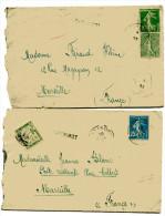 EGYPTE ALEXANDRIE 2 Env. De 1923 Pour MARSEILLE Avec Griffe PAQUEBOT Expédiées Du Bateau LOTUS - 1921-1960: Période Moderne