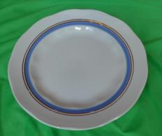 Vintage Latvia Riga USSR Soviet Porcelain Factory RPR Plate W. Blue & Gold Trim - Ceramics & Pottery