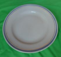 Vintage Latvia Riga USSR Soviet Porcelain Factory RPR Dish Plate W. Blue & Gold Trim - Ceramics & Pottery