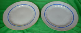 Vintage Latvia Riga USSR Soviet Porcelain Factory RPR - Set Of 2 Dish Plate W. Blue & Gold Trim - Signed
