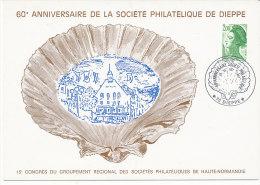 Entiers;Carte Postale Affranchie Avec T. Roulette 2 F Liberté De Gandon Vert. Oblit. 60° Anniv. Sté Philat. Dieppe - Cartoline Postali Ristampe (ante 1955)