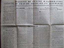 AFFICHE BULLETIN TRAVAIL FRANCAIS ALLEMAGNE 1943 PROPAGANDE VICHY RELEVE