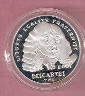 FRANKRIJK 100 FRANCS 15 ECUS AG PROOF 1991 DESCARTES - France
