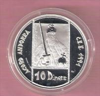 ANDORRA 10 DINERS ECU ND (1992) AG PROOF - Andorre