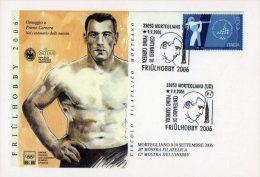 [DC1077] CARTOLINEA - OMAGGIO A PRIMO CARNERA - CENTENARIO DELLA NASCITA - MORTEGLIANO (UD) - Boxing