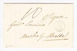 1850 - Vorphila Brief Tunesien Nach Malta Transit-Stempel Bône Algerien Und Marseille - Malte