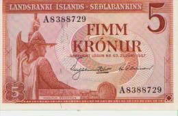 Iceland 5 Kronur 1957 Pick 37b UNC - Islandia
