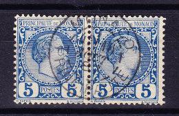 Monaco - 1885 - Mi# 3 PAAR Zentrierter Stempel - Monaco