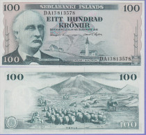 Iceland 100 Kronur 1961 Pick 44 UNC Sign2 - Iceland
