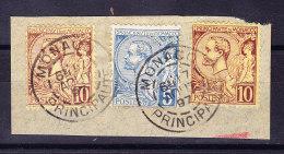 Monaco - 1891 - Mi# 1 X 13 + 2 X 14 Auf Briefstück - - Monaco