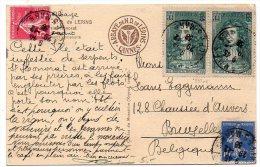 Jean De La Fontaine + Semeuse Sur Carte De 1938 Pour La Belgique - Postmark Collection (Covers)