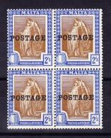 Malta - 1926 - Mi.# 111 Viererblock ** - 2 Shillings Aufdruck Postage - - Malte
