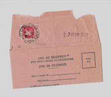 06 – Alpes Mmes « NICE »Accusé De Réception D'Objet Recommandé - Tarif à 1F.50   (5.1.1942/28.2. - Storia Postale
