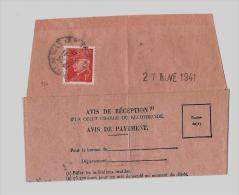 06 – Alpes Mmes « NICE »Accusé De Réception D'Objet Recommandé - Tarif à 1F.   (17.11.1938/4.1.1 - Storia Postale