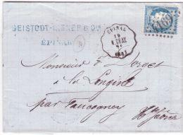 1876- Lettre D´EPINAL ( Vosges ) Cad Courrier-convoyeur EPINAL / N. GRAY Affr. N°60 Oblit. G C 4169 - Marcophilie (Lettres)