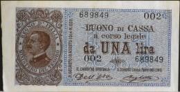 ITALIE - 1 BILLET De Una Lira - REGNO D´ITALIA - MINISTERO DEL TRESOR - Du 19 AG. 1914  - N° 002 - 689849 - Regno D'Italia – 1 Lira