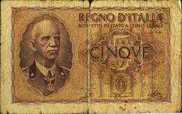 ITALIE - 1 BILLET De CINQUE Lire - REGNO D'ITALIA  - N° 0195 - 975719 - [ 1] …-1946 : Kingdom