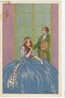 BUSI - ART DECO POSTCARD - 1920s - COUPLE & FLOWERS  - EDIT DEGAMI 1007 - Busi, Adolfo