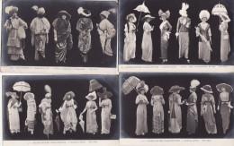 """MODE  -  LOT  De 9 Cartes Anciennes """" Sihouettes Parisiennes """" - Moda"""