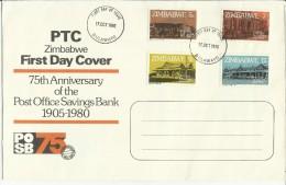 ZIMBABWE 1980 POST OFFICE SAVINGS BANK 75TH ANNIVERSARY  75 ANNIVERSARIO UFFICIO POSTALE FDC FIRST DAY COVER - Zimbabwe (1980-...)
