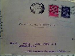 CARD 20 + 1 L Ira LUOGOTENENZA  IMPERIALE DA GENOVA  X SAN LAZZARO PARMENSE PARMA VB1944 1945 EK6085 - 5. 1944-46 Luogotenenza & Umberto II