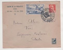 LETTRE SALON DU PHILATELIE PARIS 1946 - ENVELOPPE OFFICIELLE, VIGNETTE AVIATION ET FLAMME DU SALON SUR ENVELOPPE COQ - France