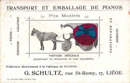 LIEGE - Rue De Saint-Remy, 17 - Etablissement : G. SCHULTZ (Carte De Visite - Dos Sans Aucune Inscription) - Visiting Cards