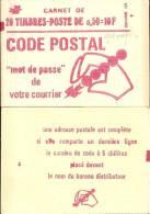 """CARNET 1664-C 9 Marianne De Bequet """"CODE POSTAL"""" 20 Timbres Fermé Conf. 8 Parfait état RARE. - Carnets"""
