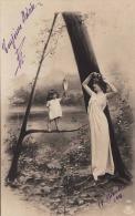 """1904 """"A"""" Junge Hübsche Frau Mit Blume Im Haar Schönem Langen Kleid Erotisch Karte Gel.1904, 5 X 1C Frankierung - Frauen"""