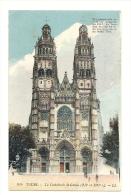 Cp, 37, Tours, La Cathédrale St-Gatien, écrite - Tours