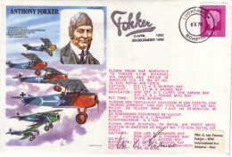 Anthony Fokker 60th Anniversary Of JW 2 Reforming Signed By Sqdn Leader M.Thomas Pilot - FDC