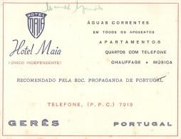 Gerês - CARTÃO Do Hotel Maia. Comercial. Publicidade. - Braga