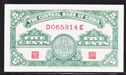 CHINA CENTRAL  BANK  5 CENTS  CRISP  UNFOLDED - China