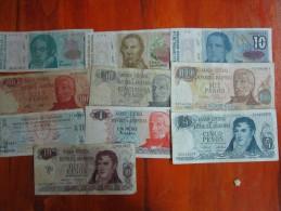 10 BILLETES DIFERENTES REPUBLICA ARGENTINA SOLD AS IS - Argentinië