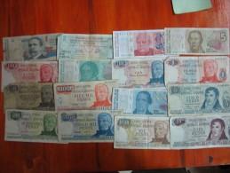 16 BILLETES DIFERENTES REPUBLICA ARGENTINA SOLD AS IS - Argentinië