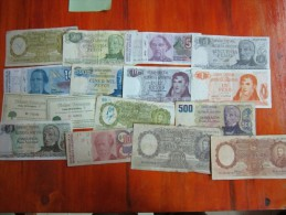 38  BANKNOTES  BILLETES DIFERENTES REPUBLICA ARGENTINA SOLD AS IS - Argentina