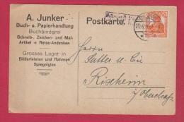 ALLEMAGNE  //POSTKARTE DE BITCHE //  POUR RIXHEIM  // 23/6/1918 //  ETAB JUNKER - Ganzsachen