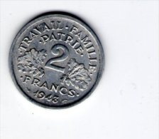 monnaie , 2 francs , 1943  , 2 scans