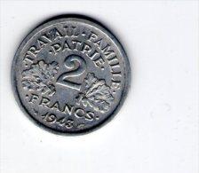 Monnaie , 2 Francs , 1943  , 2 Scans - Frankreich