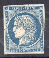 N°4 - 25c   Bleu - Oblitéré - 1849-1850 Cérès